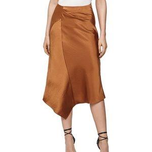 NWT REISS Aspen Asymmetric Satin Midi Skirt